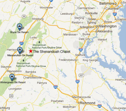 Ski Virginia Map.Shenandoah Chalet Virginia Mountain Vacation Cabin Rental Va B